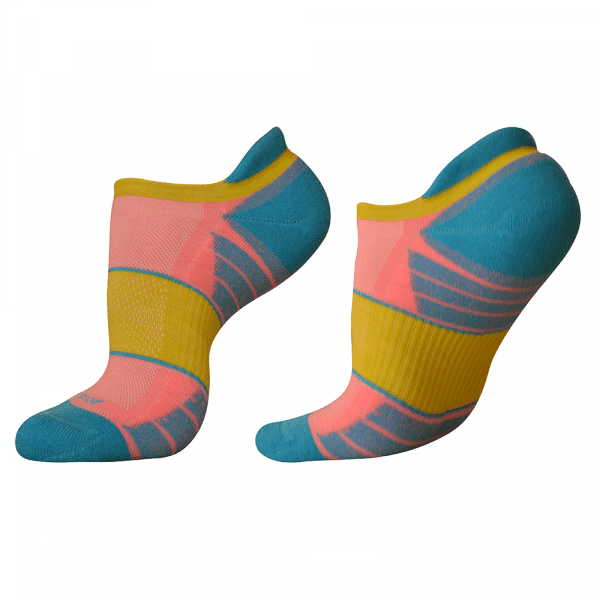 woolrior merino running socks yellow pink